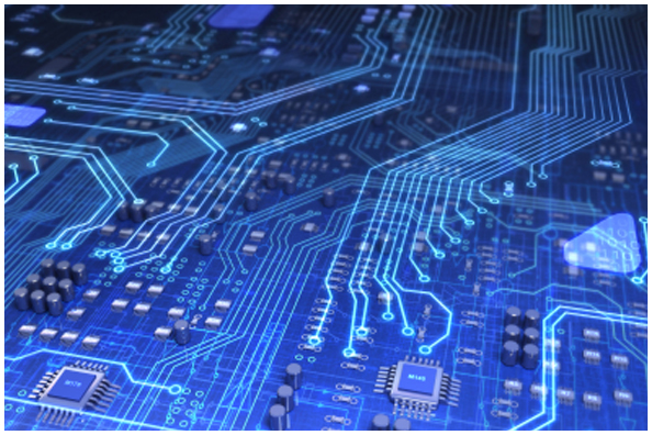 blue circuit board image